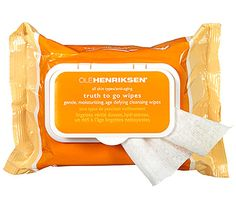 Must-Have Face Wipes: Brighten Up. Ole Henriksen Truth To Go Vitamin C Wipes, $15, pack all your anti-aging necessities in a pouch. Vitamin C and micro algae work to brighten, tighten and smooth while a mixture of essential fatty acids keeps skin plump and hydrated. Even better, each wipe is infused with a citrus vanilla scent that won't irritate sensitive skin. Each travel-friendly pack fits into the most packed gym-tote and won't go dry over time. #SelfMagazine