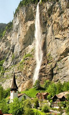Beautiful village - Church and Waterfall, Wengen, Berne, Switzerland waterfalls, gimmewald, waterfal villag, switzerland, europ, beauti, lauterbrunnen, travel, place