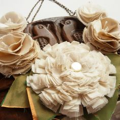 shabby Chic flowers made from scraps of fabric