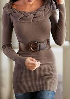 Brown Fittted Sweater