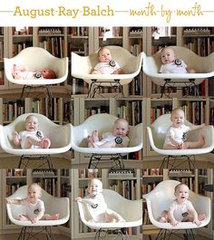 Such a cute idea! Take a picture of your baby once a month in the same location and outfit until they are 2. baby boy photography, baby pictures, monthly baby photos, babi month, photo idea, monthbymonth babi, art craft, babi photo, kid