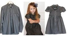 From men's shirt to girl's dress. Might get around to trying this some day.