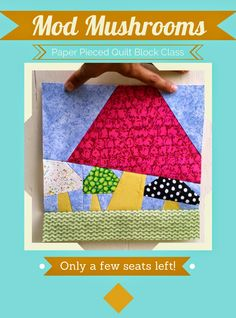 #Paperpieced quilt block featuring funky and modern  mushrooms by @craftygemini.