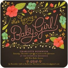 It's a girl! Create a Spring floral baby shower with this Sweet Botanicals invitation from Tiny Prints!
