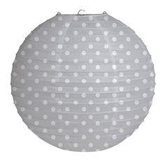 White Polka Dots on Grey Paper Lantern