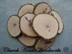 "10 qty  4"" hickory wood slices, rustic coasters, tree coasters, decoration,  rustic weddings, rustic wedding coasters"""