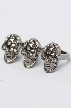 The Triple Skull Ring with Rhinestones in Silver by *Accessories Boutique