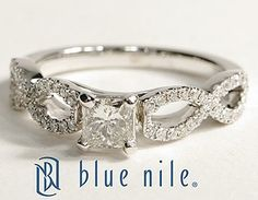 Infinity Twist Micropavé Princess Cut Diamond Engagement Ring in 14K White Gold #BlueNile #Engagement