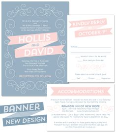Banner Wedding Invitation in Vintage and Blush | by The Green Kangaroo, Inc.