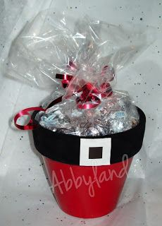 Santa Flower Pots Filled with Hugs & Kisses - can be done for so many other holidays and special occasions!