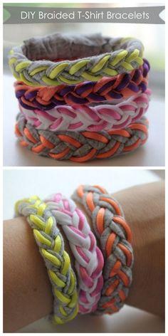 Braided T-Shirt Bracelets