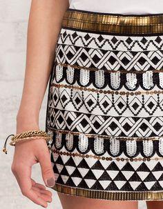 woman fashion, style, skirts, outfit, black white