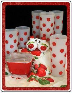 cherri, cottag, vintage kitchenware, vintage dishware, polkadot, vintage polka dots, glass, retro red kitchen, white kitchens