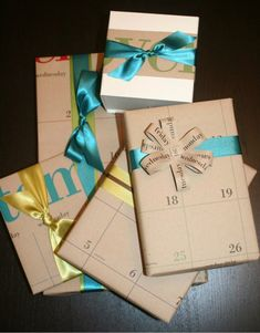 An upcycled gift wrap theme..what a cute idea! You can do it for the month of the person's birthday! And that bow is perfect.
