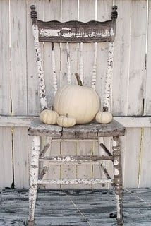 vintage chairs, fall displays, autumn, shabby chic, painted chairs, fall decorating, white pumpkins, old chairs, front porches