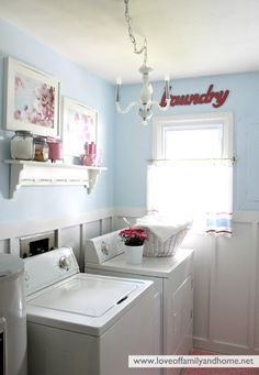 Light blue, white, silver and red for the office/laundry room
