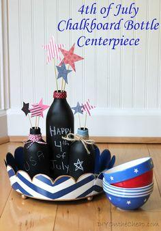 4th of July Chalkboard Bottle Centerpiece