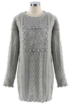 Floral Knitted Sweater Dress in Grey
