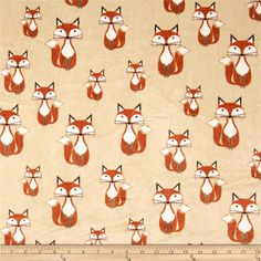 Minky Cuddle Classic Kids Foxy Tails Beige from @fabricdotcom  Designed for Shannon Fabrics, this ultra soft and luxurious minky cuddle fabric is perfect for making ultimate minky blanket, throws, cuddly toys, lounge wear, quilt backing much more! Pile measures 3mm. Colors include rust, brown and snow white on a warm beige background.