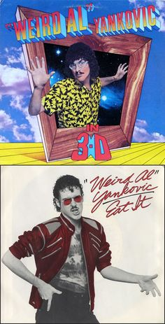 """Weird Al"" Yankovic in 3-D (1984) was his second album. Its first single ""Eat It"" (45 rpm record sleeve shown), a parody of Michael Jackson's ""Beat It"", peaked at #12 on Billboard's Hot 100."