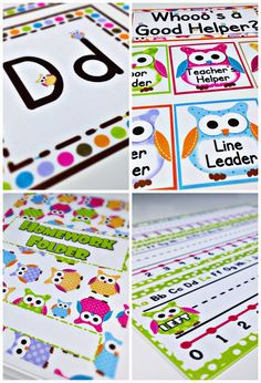 Freebies, Ideas, Materials, Decorations, Bulletin Board Display, Student Job Cards, Grouping Cards, Binder Covers, Alphabet and Cursive Posters, Welcome Banner, Name Tags and more for your owl classroom theme $ owl theme, owl classroom