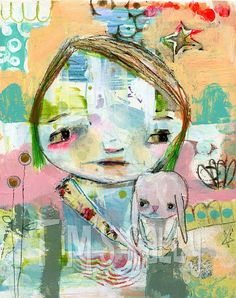 mixed media art print 8x10  Baby Hinkle  by mindy by timssally,