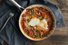 dinner, food, tomato egg, egg skillet, chipotl tomato