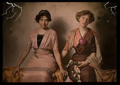 Though a bit tattered by the hands of time, the true beauty of this amazing vintage colour photograph, and the lovely women in it, from 1915 remains as strong as ever. #Edwardian #photograph #antique #vintage #women #1910s
