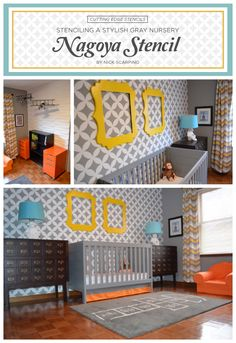A gray stenciled nursery uses the Nagoya Stencil from Cutting Edge Stencils.