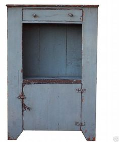 Primitive Painted Furniture   Early American primitive painted jelly cupboard bucket bench cabinet ...