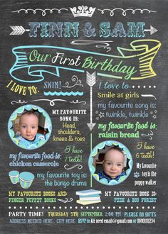 Printable Twins Firsts Birthday Invitation  by Longfellowdesigns, $18.00