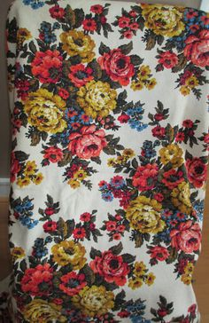 5 Yards Barkcloth Fabric   Vintage Large Flowers by AStringorTwo, $60.00
