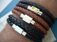 Mens Thick Double Wrap Braided Leather by UrbanSurvivalGearUSA, $27.99