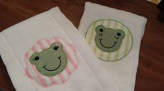 Set of two boy and girl twin frog embroidered  burp by hkgmom, $12.00