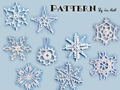 Nine Christmas Snowflakes - Since #ILoveYarnDay is already here that only means winter will be here before we know it. Prepare your decorations now with these awesome crocheted snowflakes.