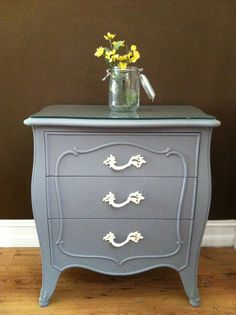 Grey French Provincial nightstands by TheWoodress on Etsy,