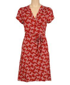 Look at this #zulilyfind! Port Red Morpho Surplice Dress #zulilyfinds