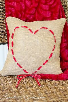Burlap Pillow With Ribbon Heart for Valentine's Day
