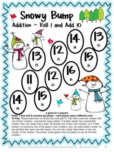 Snowy Bump Addition Bump Game by Games 4 Learning - This collection of addition games contains 35 Addition Bump Games that review a variety of addition skills adding to 20. $