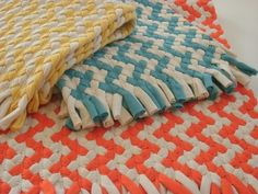 Hand Made - Chevron braided rug made from Organic cotton.
