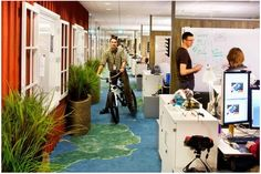 An interior of one of Google's offices.  A good example of open architecture...