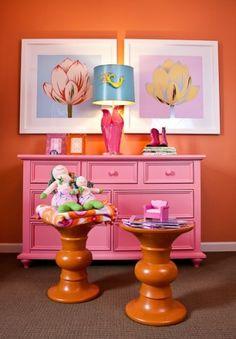 Bright pink and orange
