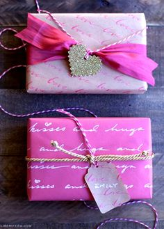 #DIY #crafts #Valentine's Day #pink #giftwrapping ToniK ⓦⓡⓐⓟ ⓘⓣ ⓤⓟ