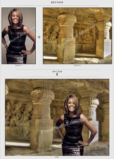 Plain background replaced in Whitney Hosuton pic transporting her to Ajanta Ellora caves in India.  http://www.freephotoediting.com/samples/change-background/024-whitney-houston-placed-in-ajanta-ellora-caves-in-india.htm
