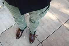 green cargo leather loafers