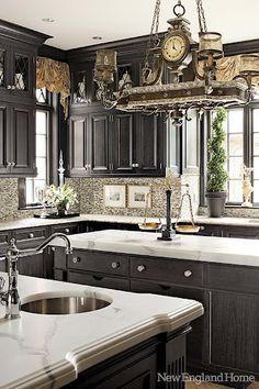 pot racks, clock, light fixtures, black cabinets, black kitchens, countertop, dream kitchens, new england homes, marbl