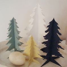 holiday, xmas trees, pet, christma tree, art, christma decor, silhouettes, papers, paper trees