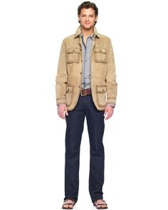 Michael Kors Suede Utility Jacket, Plaid Chambray Shirt & Modern Fit Stretch Jeans.