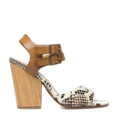 wood sandal, block heel