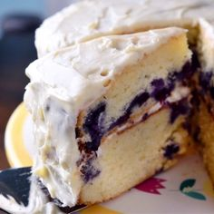 A moist lemony cake filled with blueberries and frosted with a delectable cream cheese frosting.